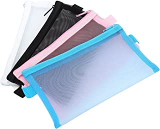 HOYOFO Travel Mesh Makeup Bag See Through Zipper Cosmetic Organizer Pouches Pack of 4 Multicolored