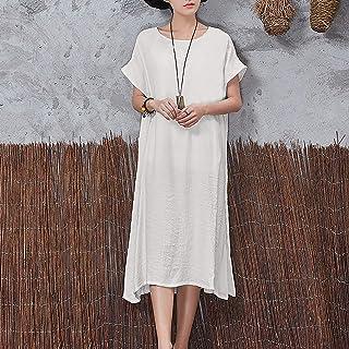 Sunbaca Vestido feminino casual longo manga curta decote em O sólido dividido solto Bo Midi vestido bege/amarelo/vermel/br...