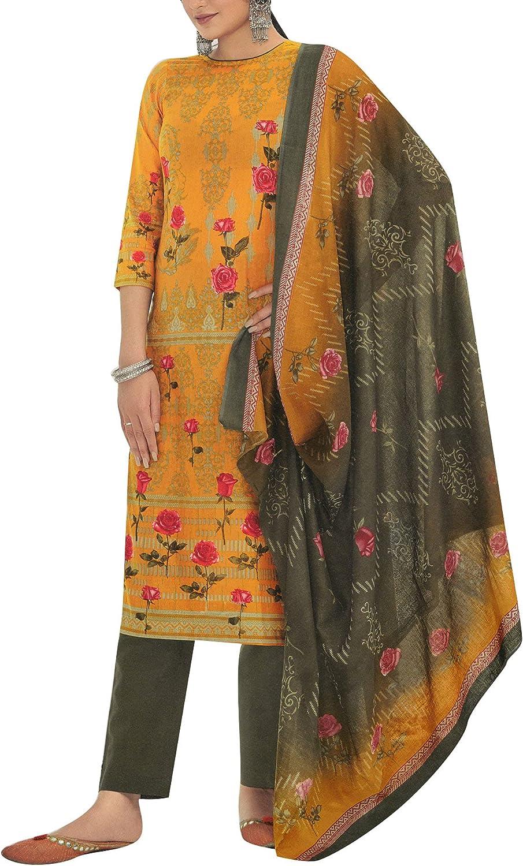 Pure Cotton Elegant Printed Salwar Kameez Suit with Pants & Cotton Dupatta
