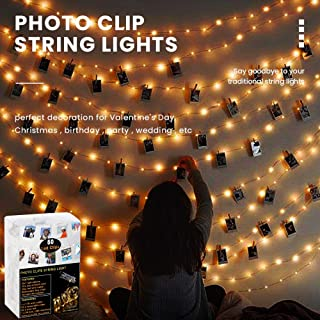 Caprier 2in1 Photo Clip String Lights (2 Features - 17Ft 50 LED Photo and Removable Clips) Hanging Pictures for Christmas and Fancy Decoration