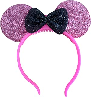 Light Up LED Sparkly Mouse Ears (Pink)