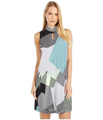Jamie Sadock Geo Print Sleeveless Dress with Shortie (Jet Black) Women