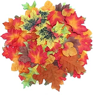 Luxbon 100pcs Artificial Autumn Fall Maple Leaves Multi Colors Great Autumn Table Scatters for Fall Weddings & Autumn Parties