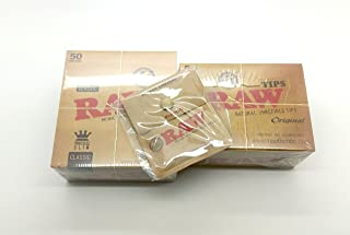 RAW Bundle (3 Items) Classic King Size Slim Rolling Paper Full Box of 50, Filter Tips Full Box of 50 & a Raw Pocket Ashtray