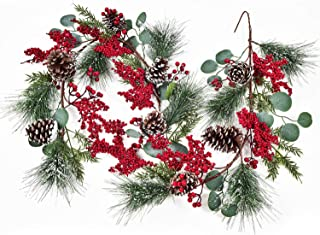 6Ft Christmas Garland with Pinecones Berries Eucalyptus Leave Vine Floral Table Runner for Wedding Arch Swag Backdrop Chri...