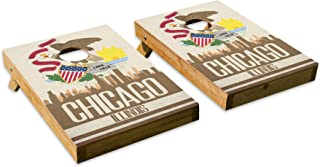 Chicago State Flag Skyline Design - Tailgate Cornhole Board Set with 8 Bags