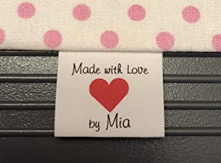luvmylabels 40 Custom Precut NO FRAY Cotton Loop Fold Sewing Label/Tags with Heart Graphic in Color Ink-Made in USA