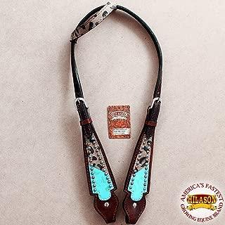 HILASON Western Horse Headstall Tack Bridle American Leather Cheetah Print
