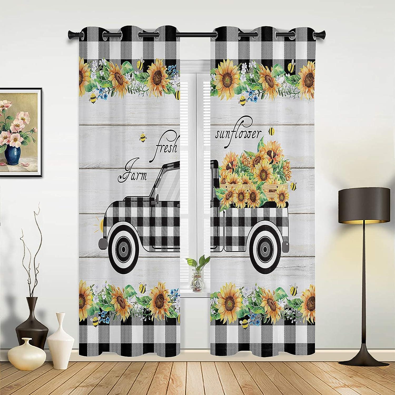 Bedroom Under blast sales Window Super sale period limited Curtain Panels Black Full Plaid Farm White Truck