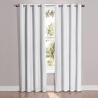 "Eclipse 52"" x 95"" Insulated Darkening Single Panel Grommet Top Window Treatment Living Room, White"
