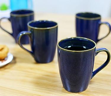 KITTENS Ceramic Coffee Mug (Metallic Blue, Large/320ml) - Set of 4