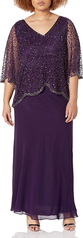 J Kara Women's Plus Size Sequin Beaded V-Neck 3/4 Sleeve Popover Gown