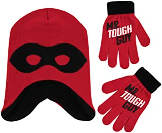 Boys' Little Incredibles 2 Hat and Gloves Cold Weather Set, red/black, Age 4-7
