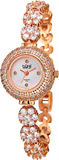 Burgi Women's BUR139 Crystal Encrusted Diamond Accented Mother-of-Pearl Bracelet Watch