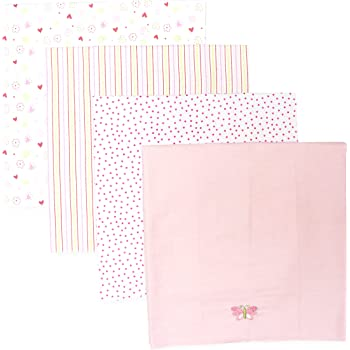 Spasilk Unisex Baby 4 Pack 100% Cotton Flannel Receiving Blanket — Baby Boy or Baby Girl Shower Gift, Pink Butteryfly