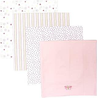 Spasilk Baby-Girls Newborn 4 Pack 100% Cotton Flannel Receiving Blanket, Pink, One Size