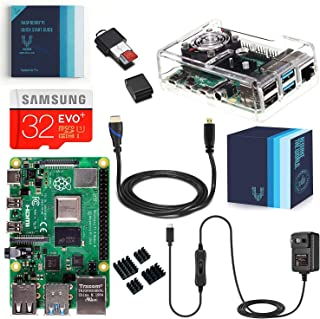 Vilros Raspberry Pi 4 Complete Kit with Clear Transparent Fan Cooled Case 1GB