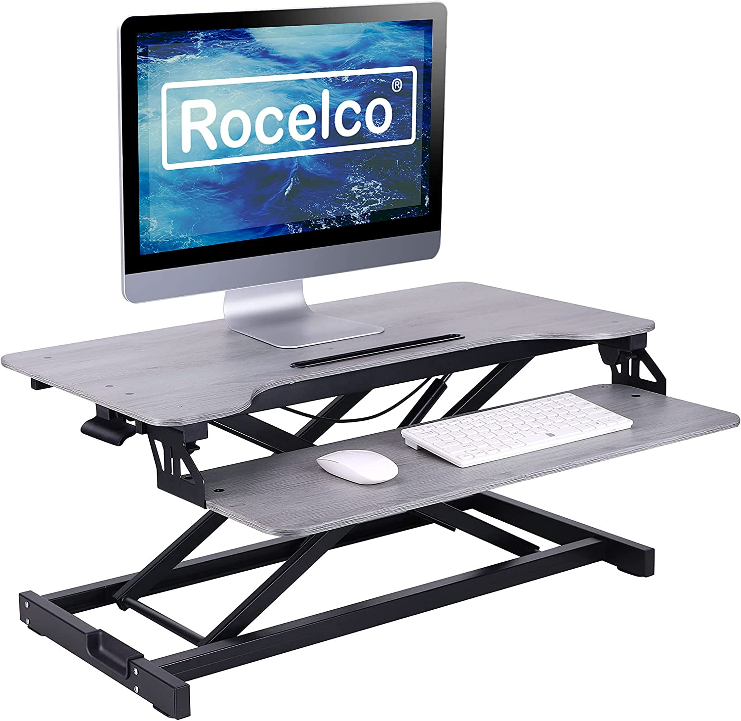 Rocelco Standing Desk Converter 31.5 Inch Sit Stand Up Dual Monitor Tabletop Riser with Tablet Mount, Height Adjustable Home Office Workstation - Deep Keyboard Tray for Laptop Mouse - Gray (R VADRG)