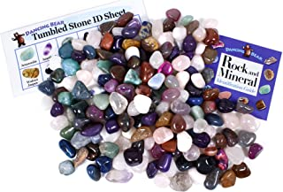 Tumbled Polished Natural Gem Stones 0.9kg (lbs) + Educational Colour ID Sheet & 27 Page Rock & Mineral Identification Boo...