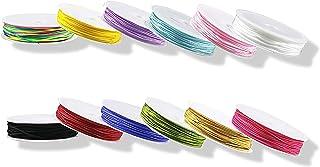Dartue 12pcs Nylonfaden Nylonschnur Polyesterfaden Baumwollschnur Bunte Schnur Faden 0.8MM  10M für Kinder DIY Armband Halskette Schmuck Handwerk Bastel