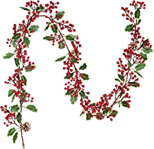 DearHouse 7FT Red Berry Christmas Garland with Pine Cone Garland Artificail Garland Indoor Outdoor Garden Gate Hone Decora...