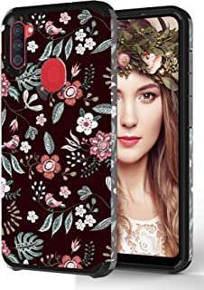 ShinyMax Galaxy A11 Case with Floral Design,Samsung A11 Phone Case,Hybrid Dual Layer Armor Protective Cover Cute Flexible ...