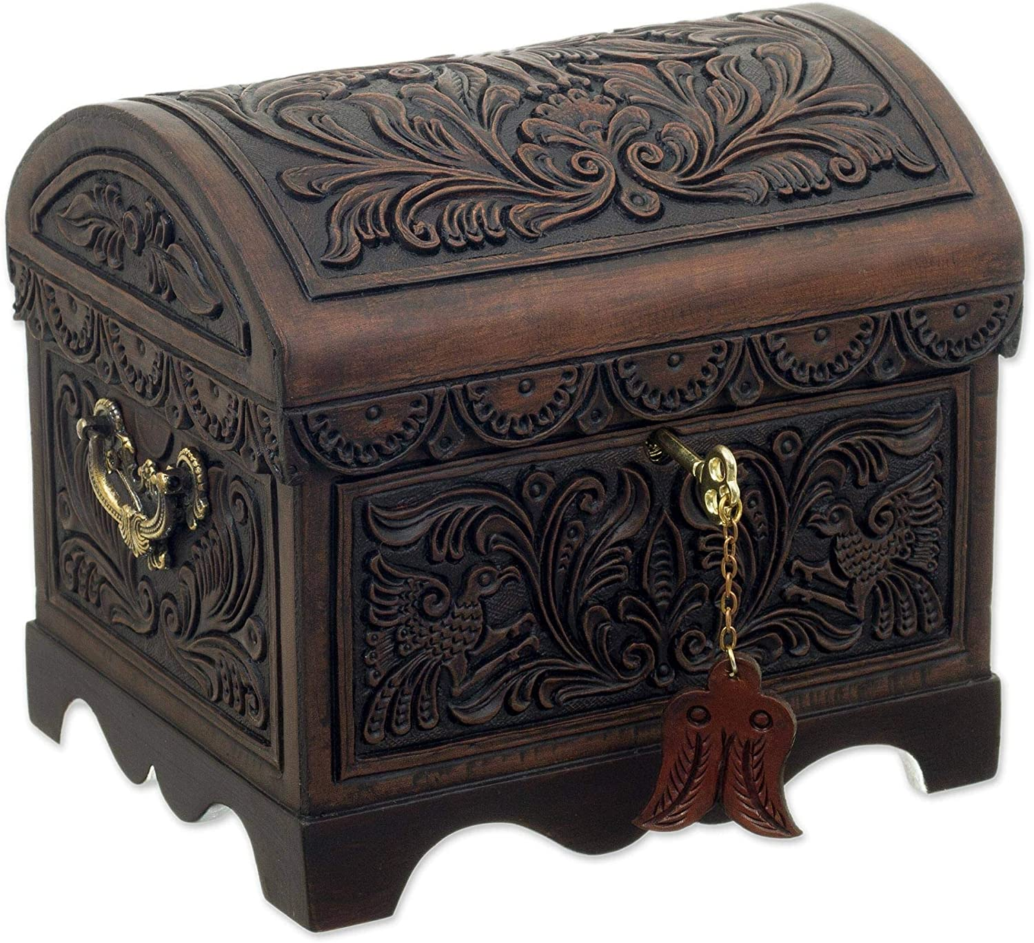 NOVICA Brown Max 56% OFF online shopping Bird Theme Treasure Chest Leather Wood Tooled D and