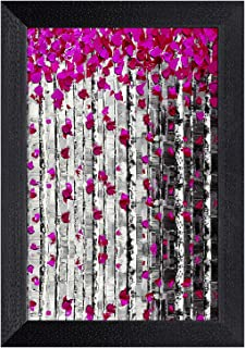 Ritwikas Modern Art Pink Leaf Wall Art Digital Reprint Frame Painting (9.5 inches x 13.5 inches)
