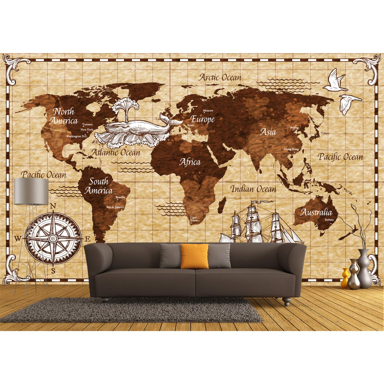 Latest item Vintage World Map Seasonal Wrap Introduction Wallpaper Mural. Wallpaper. Remo Self-Adhesive