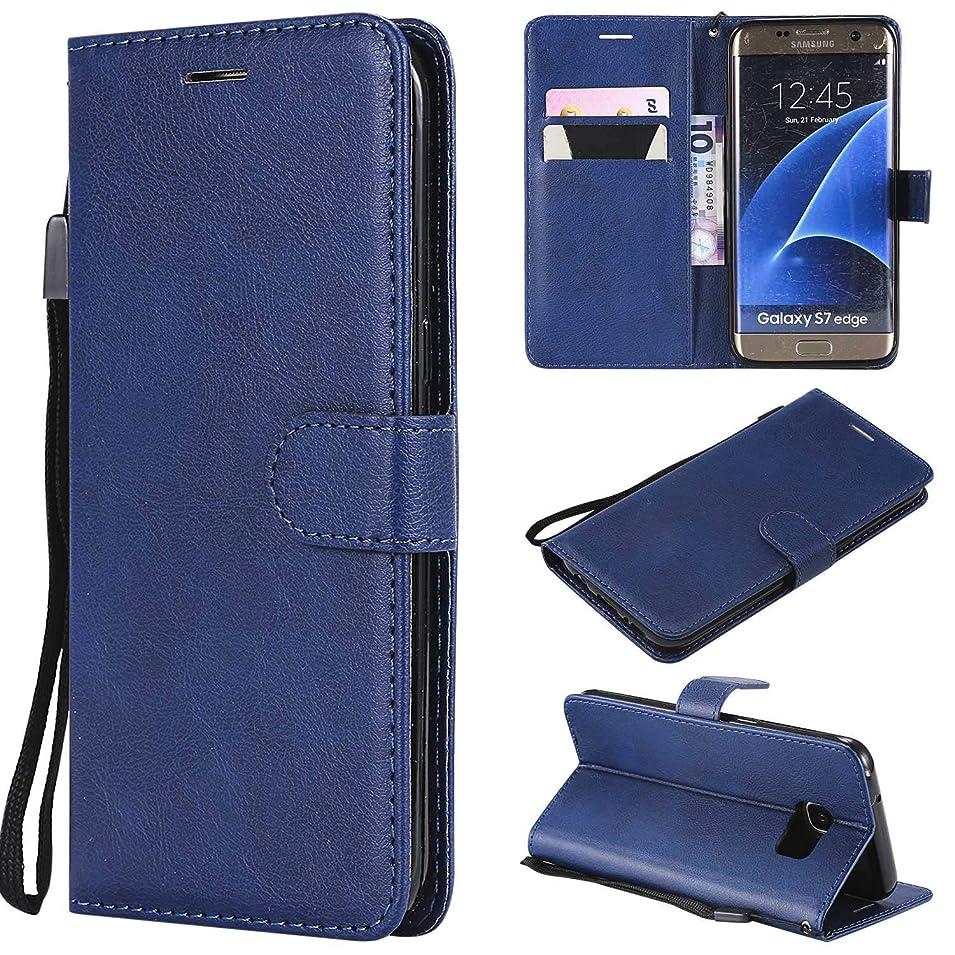大邸宅舗装する征服Galaxy S7 Edge ケース手帳型 OMATENTI レザー 革 薄型 手帳型カバー カード入れ スタンド機能 サムスン Galaxy S7 Edge おしゃれ 手帳ケース (6-ブルー)