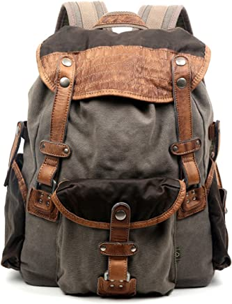 6ed22f1f257a The Same Direction Tapa Two Tone Canvas Backpack Leather and Canvas Bag  (Grey)