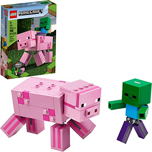 2021 LEGO Minecraft online sale Pig BigFig online and Baby Zombie Character 21157 Cool Buildable Play-and-Display Toy Animal Figure for Kids, New 2020 (159 Pieces) online sale