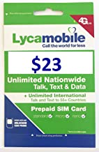 Lycamobile $23 Plan Sim Cards Include $10 Value Free Univesal USB Charging Cable for All Phones