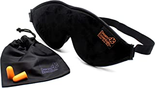 Dream Essentials Escape Luxury Sleep Mask Kit with Earplugs and Carry Pouch (Black), Gift Set