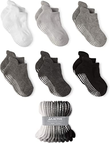 FUTURE FOUNDER Boys Calf Socks 12-36 months Black-White-Gray 6-pack