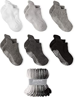LA Active Grip Ankle Socks - 6 Pairs - Baby Toddler Kids Boys Girls Non Slip/Anti Skid