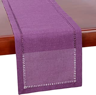 Grelucgo Hemstitch Purple Table Runner Or Dresser Scarf, Solid Color, Halloween, Weddings, Easter and Everyday Use (14 x 48 Inch)