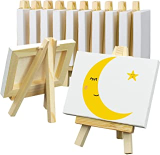 FIXSMITH 3x4 Inch Mini Stretched Canvas Easel Set- Bulk Pack of 12,Set Contains 12 Mini Canvases&12 Mini Easels,Small Stre...