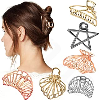 Sanas Hair Accessories 6 Pcs Hollow Hair Clips Medium Metal Clutchers Golden Silver Bronze Butterfly Girls and Women Minim...