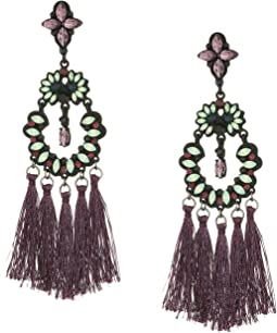 Casted Stone Tassel Post Earrings