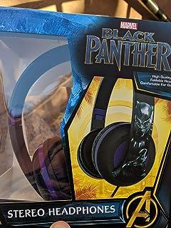 Auriculares Black Panther, diadema ajustable, sonido estéreo, jack de 3,5 mm, auriculares con cable, sin enredos, control de volumen, plegables, auriculares para niños sobre la oreja para escuela, hogar, viajes