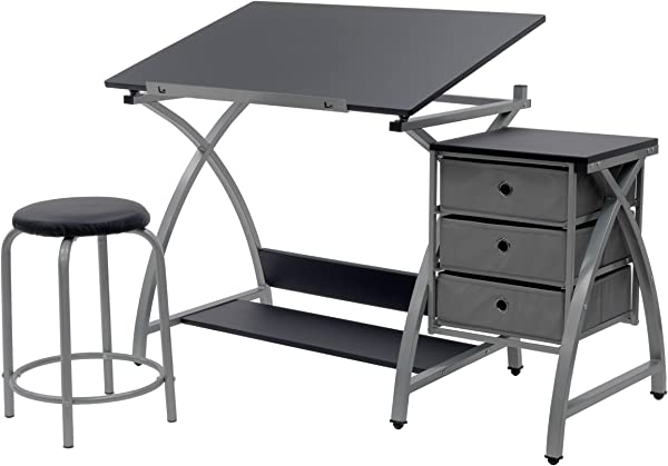 SD Studio Designs Studio Designs 2 Piece Comet Art Hobby Drawing Drafting Craft Table With 36 W X 23 75 D Angle Adjustable Top And Stool In Silver Black Assembled Dimensions 50 W X X 29 5 H
