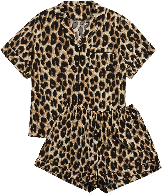 Milumia Women Plus Size Leopard Print Pajama Sets Button Short Sleeve Shirt and Shorts Sleepwear