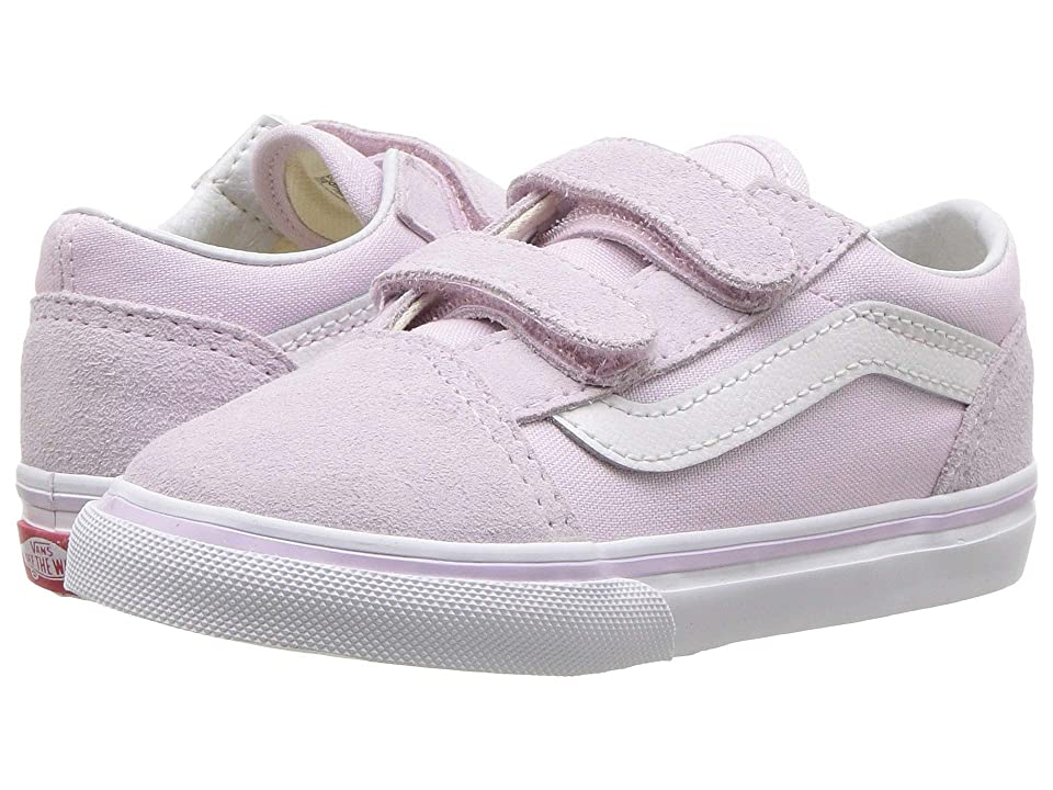 Vans Kids Old Skool V (Infant/Toddler) (Lavender Fog/True White) Girls Shoes