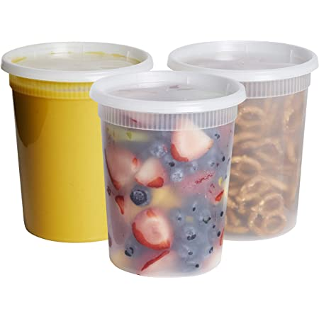 [24 Sets - 32 oz.] Plastic Deli Food Storage Freezer Containers With Airtight Lids