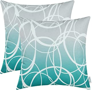 CaliTime Pack of 2 Soft Canvas Throw Pillow Covers Cases for Couch Sofa Home Decor Modern Gradient Ombre Circles Rings Both Sides 18 X 18 Inches Gray to Teal