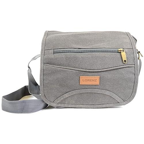 cd6e66a453 Mens Ladies Travel Work Canvas  Small Messenger  Style Shoulder Bag (Black