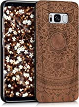 kwmobile Wood Case Compatible with Samsung Galaxy S8 - Non-Slip Natural Solid Hard Wooden Protective Cover - Indian Sun Dark Brown