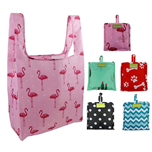 dbd6499673 Foldable Reusable Grocery Bags Bulk 5 Cute Designs Folding Shopping Tote Bag  Fits in Pocket Eco