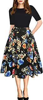 oxiuly Women's Vintage Patchwork Pockets Puffy Swing...